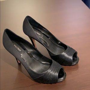 White House Black Market black satin heels peep